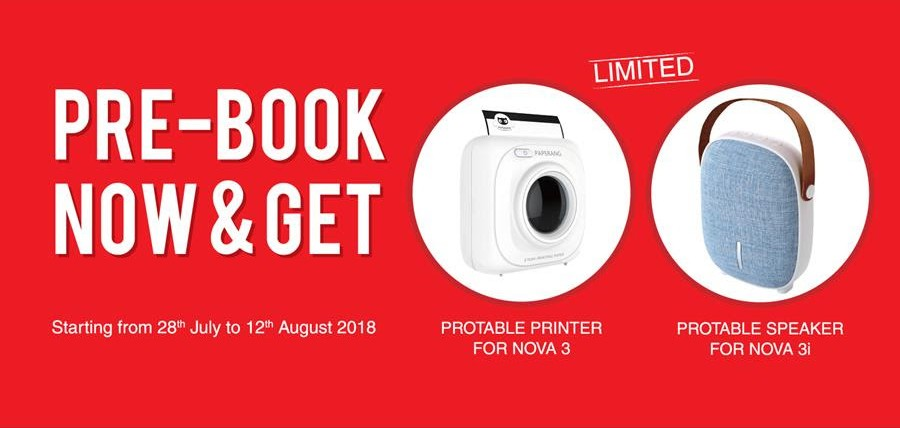 Offer! Get Photo Printer and Bluetooth Speaker in Purchase of Nova 3 and 3i