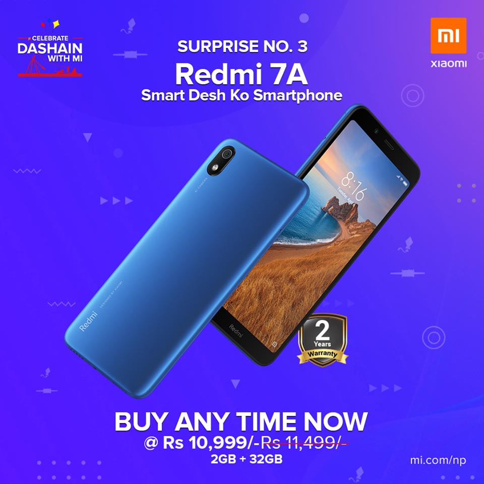 Xiaomi Launches Entry Level Redmi 7A in Nepal - Specs, Highlights and More